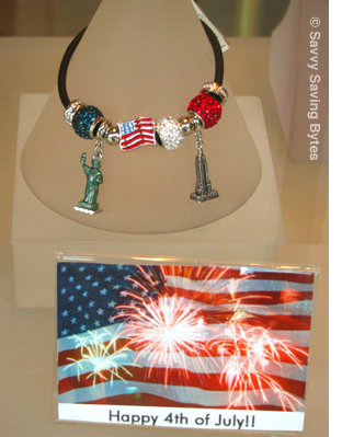 fourth of july necklace and postcard