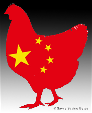 Chicken Icon with Chinese flag.