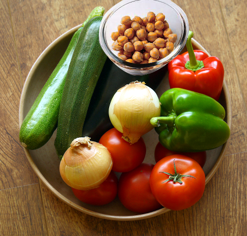 veggies and chick peas