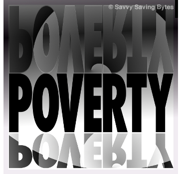 The word POVERTY repeated in shadows